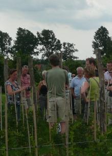 groep mensen krijgt op maat gemaakt uitleg over de biologische boerderij en groente en fruitteelt in de tuin bij Sprankenhof Udenhout
