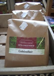 Biologische gelei suiker voor het zelf jam maken met oogst uit eigen tuin Sprankenhof Udenhout
