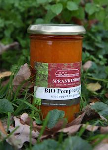 Pot biologische jam pompoen appel en gember zonder toevoeging van chemische geur,- kleur,- of smaakstoffen en zonder conserveringsmiddelen