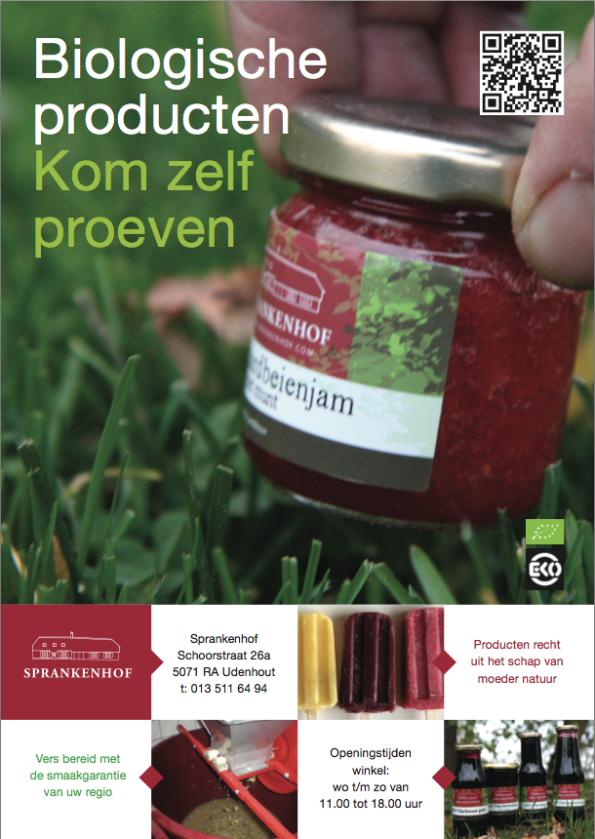 Voorkant folder 2016 biologische producten Sprankenhof